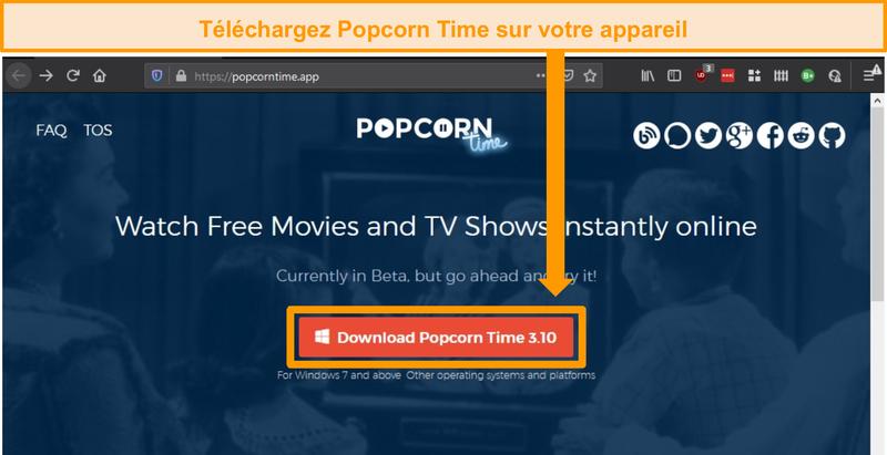 Capture d'écran de la page d'accueil popcorn time avec le bouton de téléchargement
