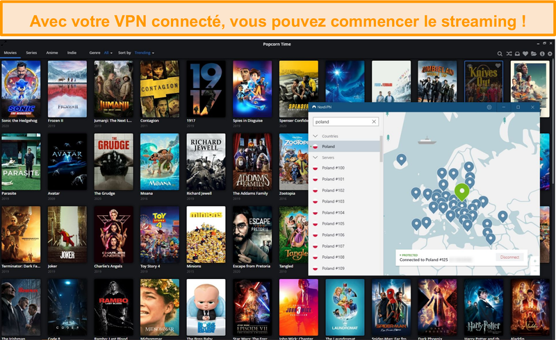 Capture d'écran de la bibliothèque Popcorn Time lorsqu'elle est connectée à NordVPN
