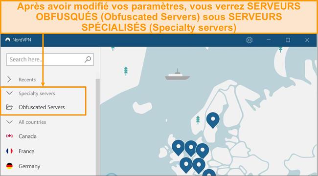 Capture d'écran montrant l'option serveur obscurcie de NordVPN dans le menu des serveurs spécialisés
