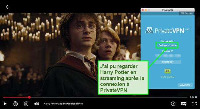 Capture d'écran de PrivateVPN connecté au serveur Portugal et streaming Harry Potter sur Netflix