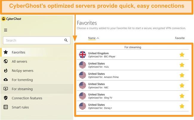Screenshot of CyberGhost VPN for streaming servers list