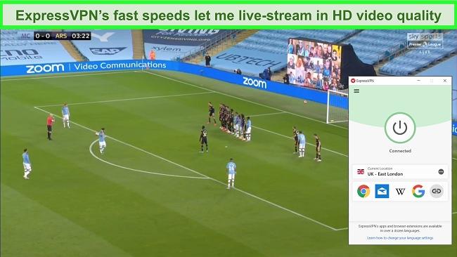 Screenshot of ExpressVPN unblocking Sky Sports