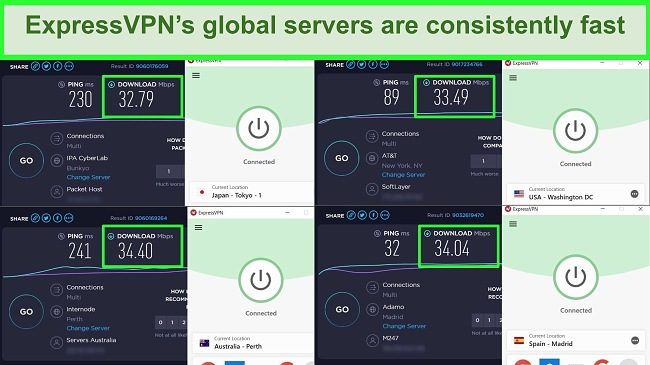 Screenshots of Ookla speed tests with ExpressVPN connected to different servers.