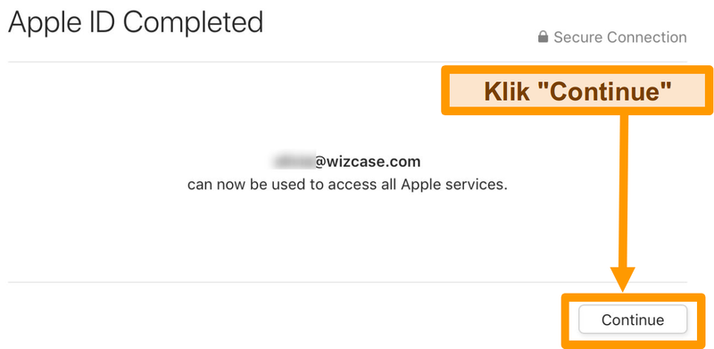 Screenshot menyelesaikan pendaftaran ID Apple untuk App Store.