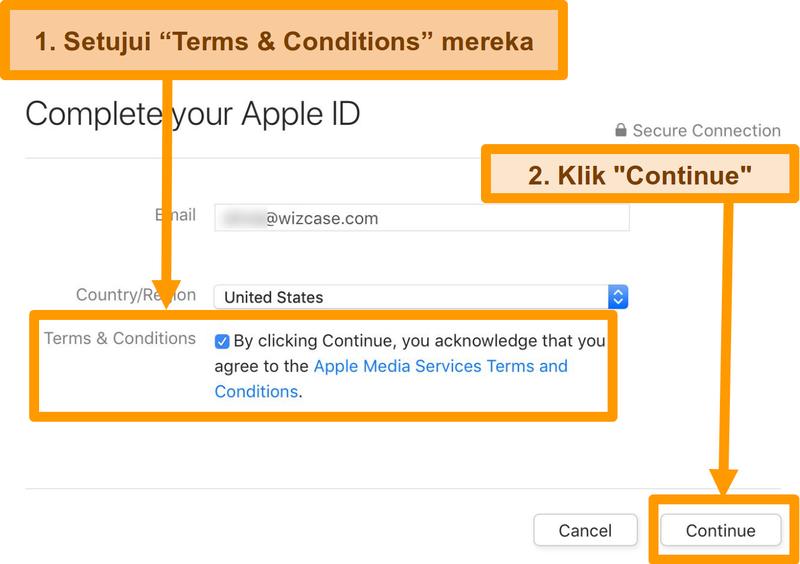 Screenshot proses menyetujui persyaratan dan ketentuan untuk menyelesaikan pendaftaran ID Apple untuk App Store.