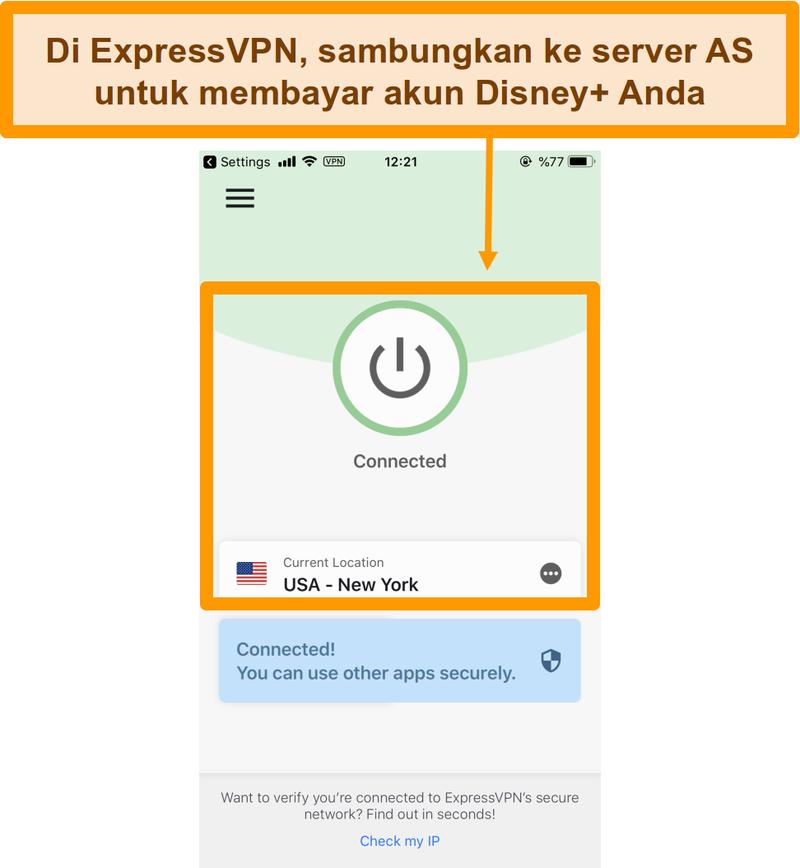 Screenshot menghubungkan ke server AS melalui ExpressVPN pada smartphone.
