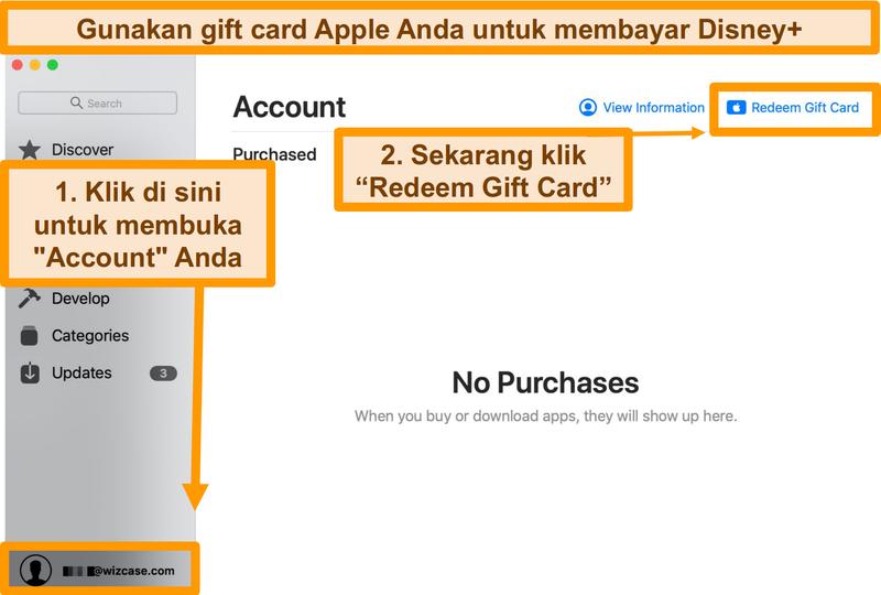 Screenshot Penukaran kartu hadiah Apple untuk membayar Disney + di App Store.