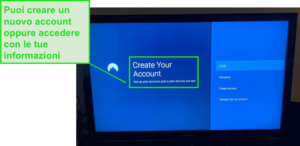 Accedi o crea un nuovo account seguendo le istruzioni visualizzate sullo schermo.