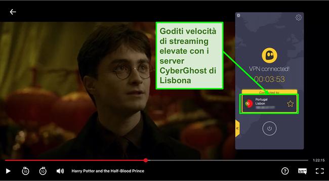Screenshot di Cyberghost VPN collegato al server Portogallo e streaming Harry Potter su Netflix
