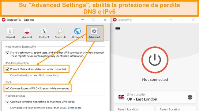 Screenshot delle impostazioni avanzate ExpressVPN con la protezione da perdite IP e DNS attivata