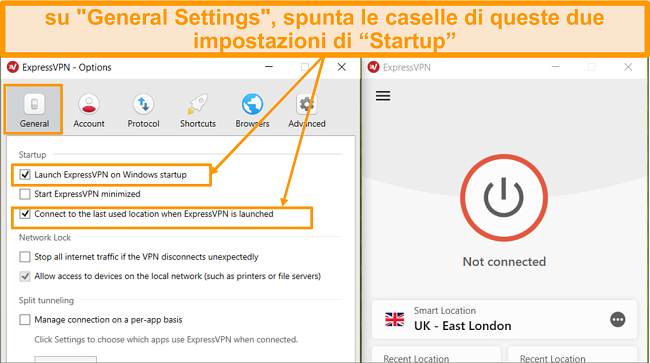 Screenshot di Impostazioni generali e come avviare ExpressVPN all'avvio