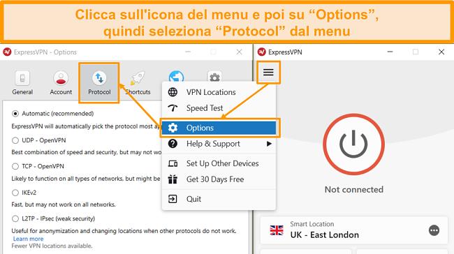 Screenshot del menu ExpressVPN che apre Opzioni e impostazioni di protocollo