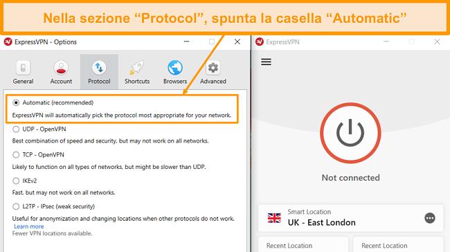 Screenshot delle impostazioni del protocollo ExpressVPN con l'opzione Automatico evidenziata