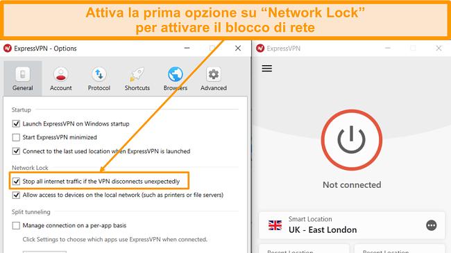 Screenshot delle impostazioni generali ExpressVPN con l'opzione Kill Attivato