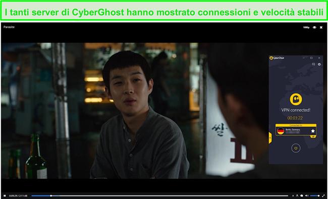 Screenshot di CyberGhost che protegge Popcorn Time durante lo streaming Parasite