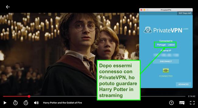Screenshot di PrivateVPN connesso al server Portogallo e streaming di Harry Potter su Netflix