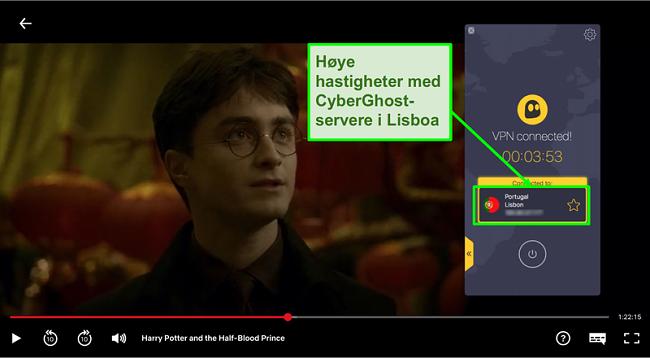 Skjermbilde av Cyberghost VPN koblet til Portugal server og streaming Harry Potter på Netflix