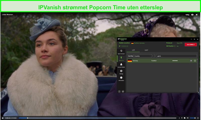 Skjermbilde av IPVanish streaming Little Women på Popcorn Time