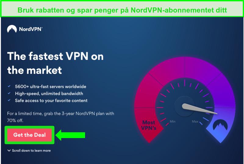 Skjermbilde av NordVPNs hjemmeside med en rabattavtale
