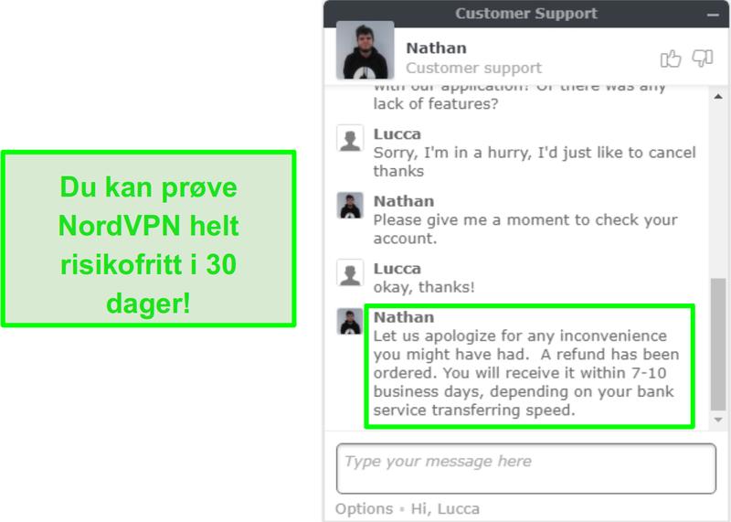 Skjermbilde av NordVPN kundestøtte godkjenne en refusjon forespørsel via live chat
