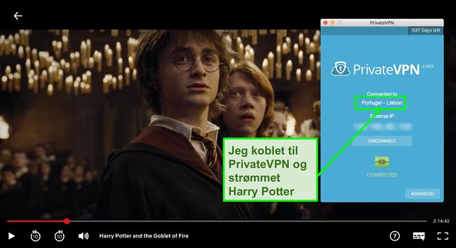 Skjermbilde av PrivateVPN koblet til Portugal server og streaming Harry Potter på Netflix