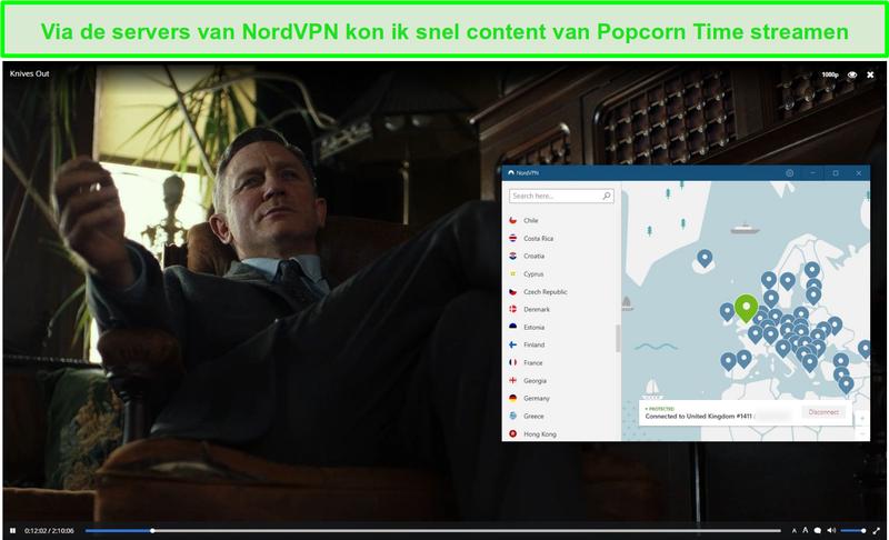 Schermafbeelding van NordVPN die Popcorn Time beschermt tijdens het streamen van messen