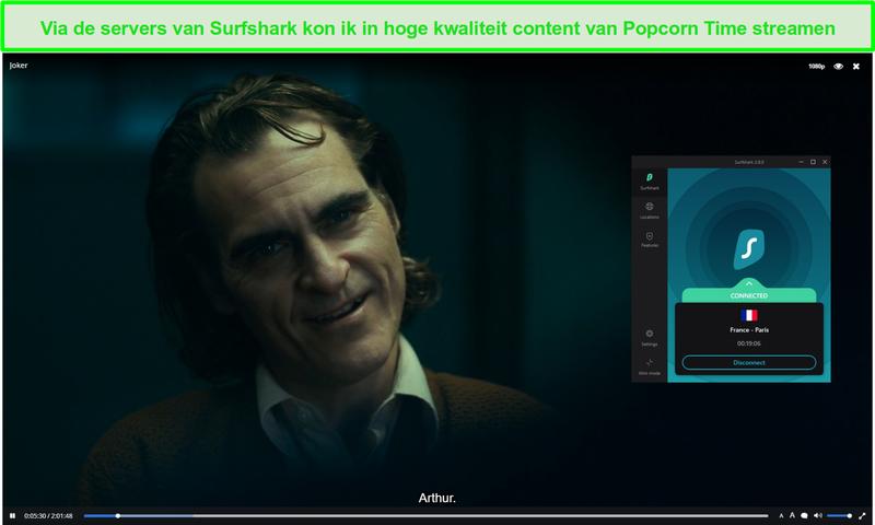 Screenshot van Surfshark die Popcorn Time beschermt tijdens het streamen van Joker