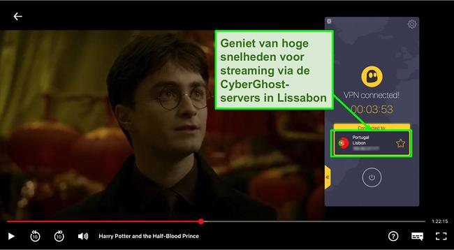 Schermafbeelding van Cyberghost VPN verbonden met Portugal server en streaming Harry Potter op Netflix