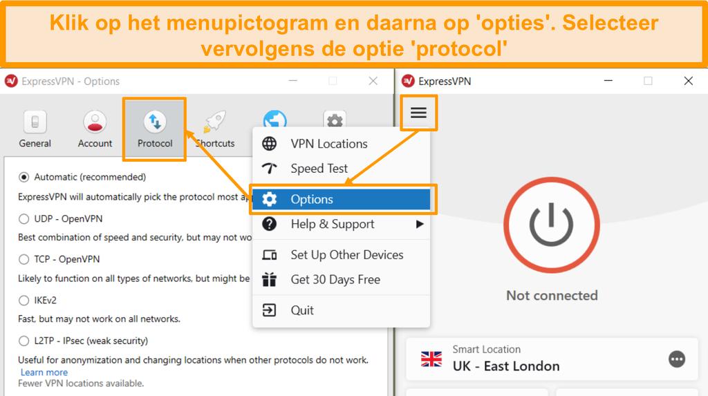 Schermafbeelding van de instellingen voor het openen van het Menu ExpressVPN en Protocol