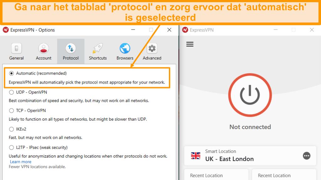 Schermafbeelding van ExpressVPN-protocolinstellingen met Automatisch gemarkeerd