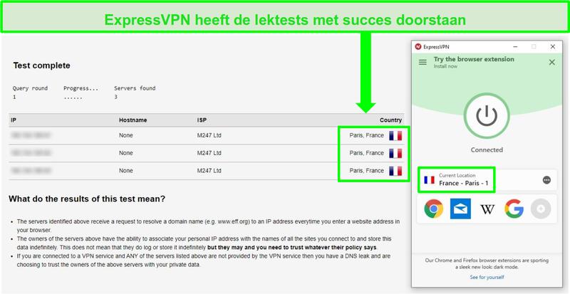 Schermafbeelding van ExpressVPN die is verbonden met een server in Parijs en een DNS- en IP-adreslektest doorgeeft