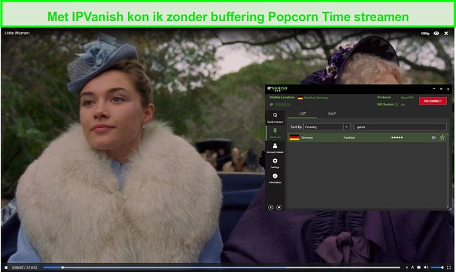 Screenshot van IPVanish streaming Little Women op Popcorn Time
