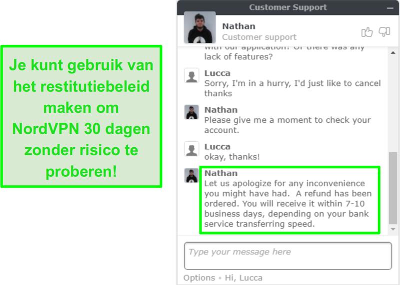 Schermafbeelding van de klantenservice van NordVPN die een terugbetalingsverzoek via live chat goedkeurt
