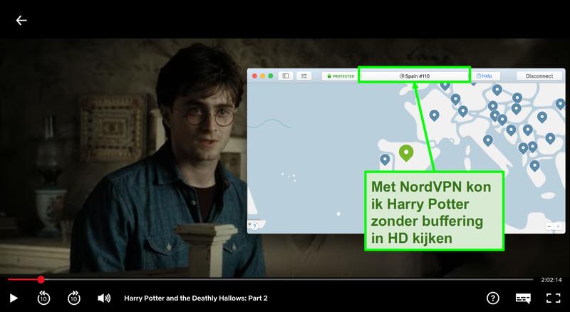 Schermafbeelding van NordVPN die is verbonden met spanje server en streaming Harry Potter op Netflix