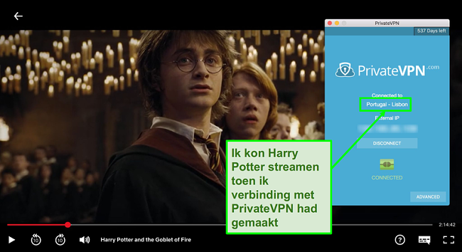 Schermafbeelding van PrivateVPN die is verbonden met de Server van Portugal en Harry Potter streamen op Netflix