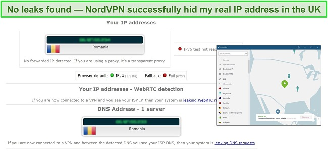 Screenshot showing no DNS or IP leaks detected on a NordVPN connection