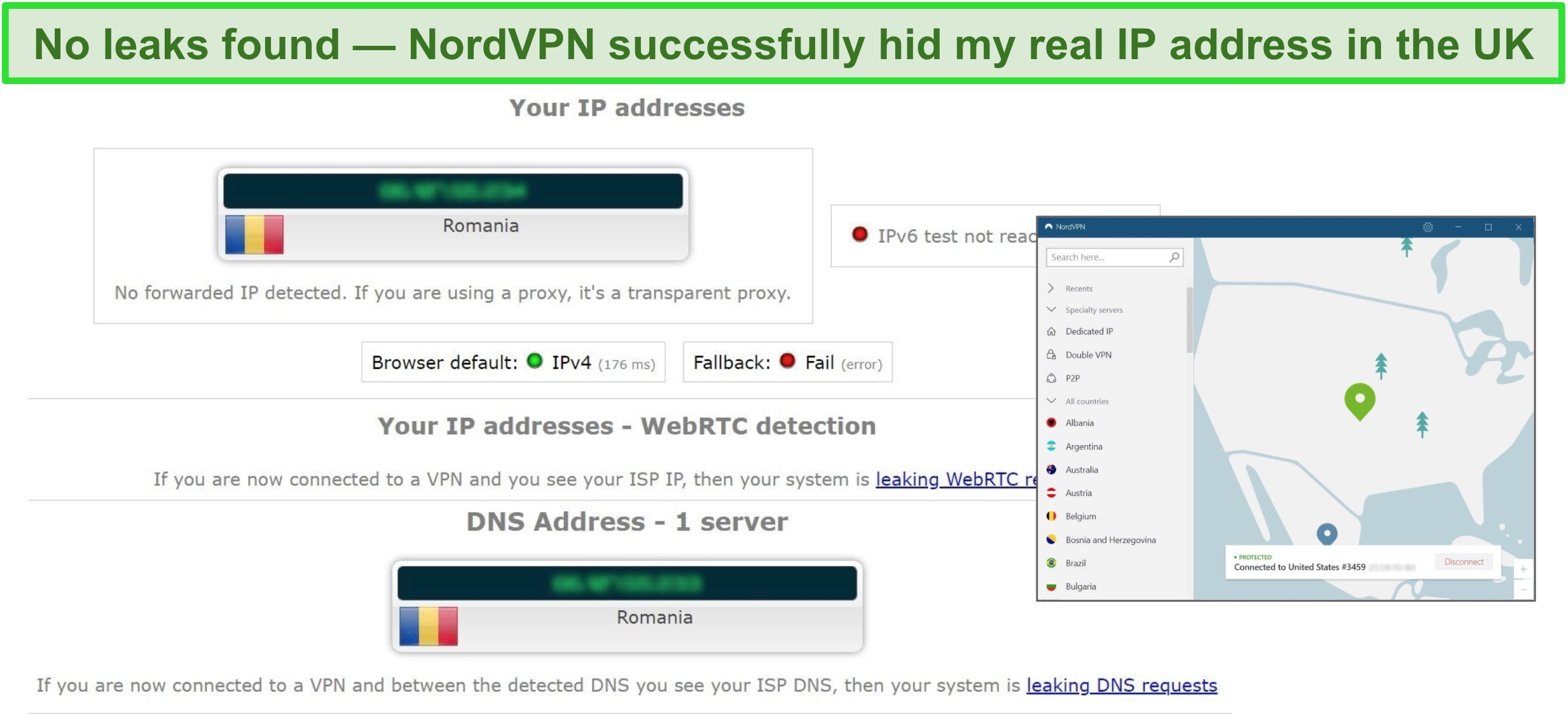 Screenshot of NordVPN successfully passing a IP, WebRTC, and DNS leak test while connected to a server in Romania