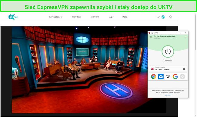 Zrzut ekranu z ExpressVPN odblokowanie hipotetyczne na UKTV