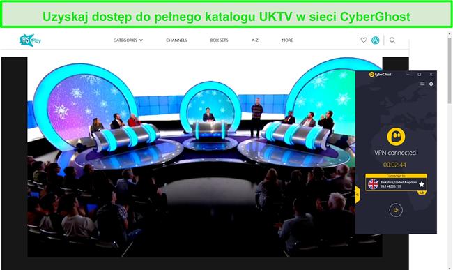 Zrzut ekranu z CyberGhost odblokowanie czy mogę kłamać do Ciebie? w uktv