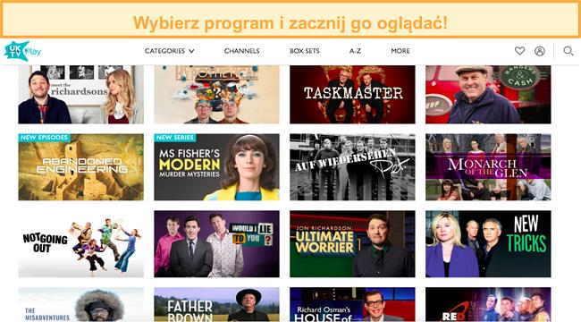 Zrzut ekranu przedstawiający odblokowanie programów UKTV przez NordVPN