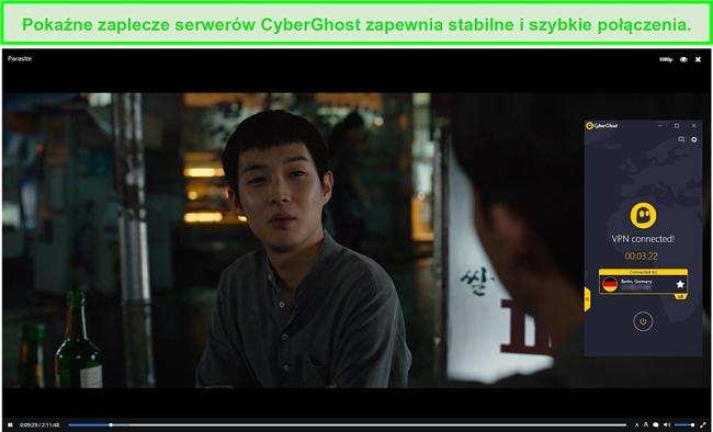 Zrzut ekranu przedstawiający CyberGhost chroniący Czas Popcornu podczas przesyłania strumieniowego Pasożyta
