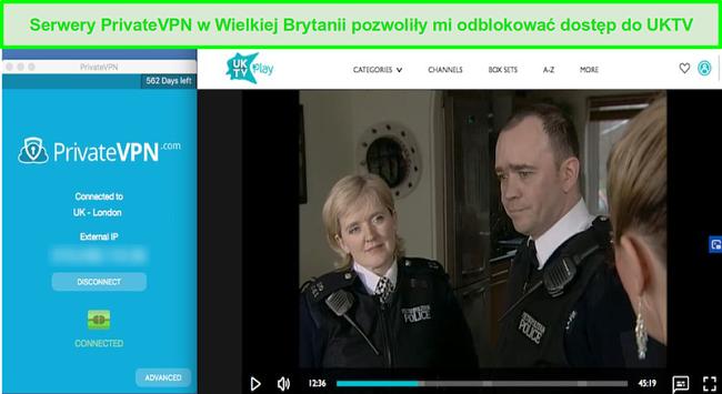 Zrzut ekranu z PrivateVPN odblokowanie Bill na UKTV