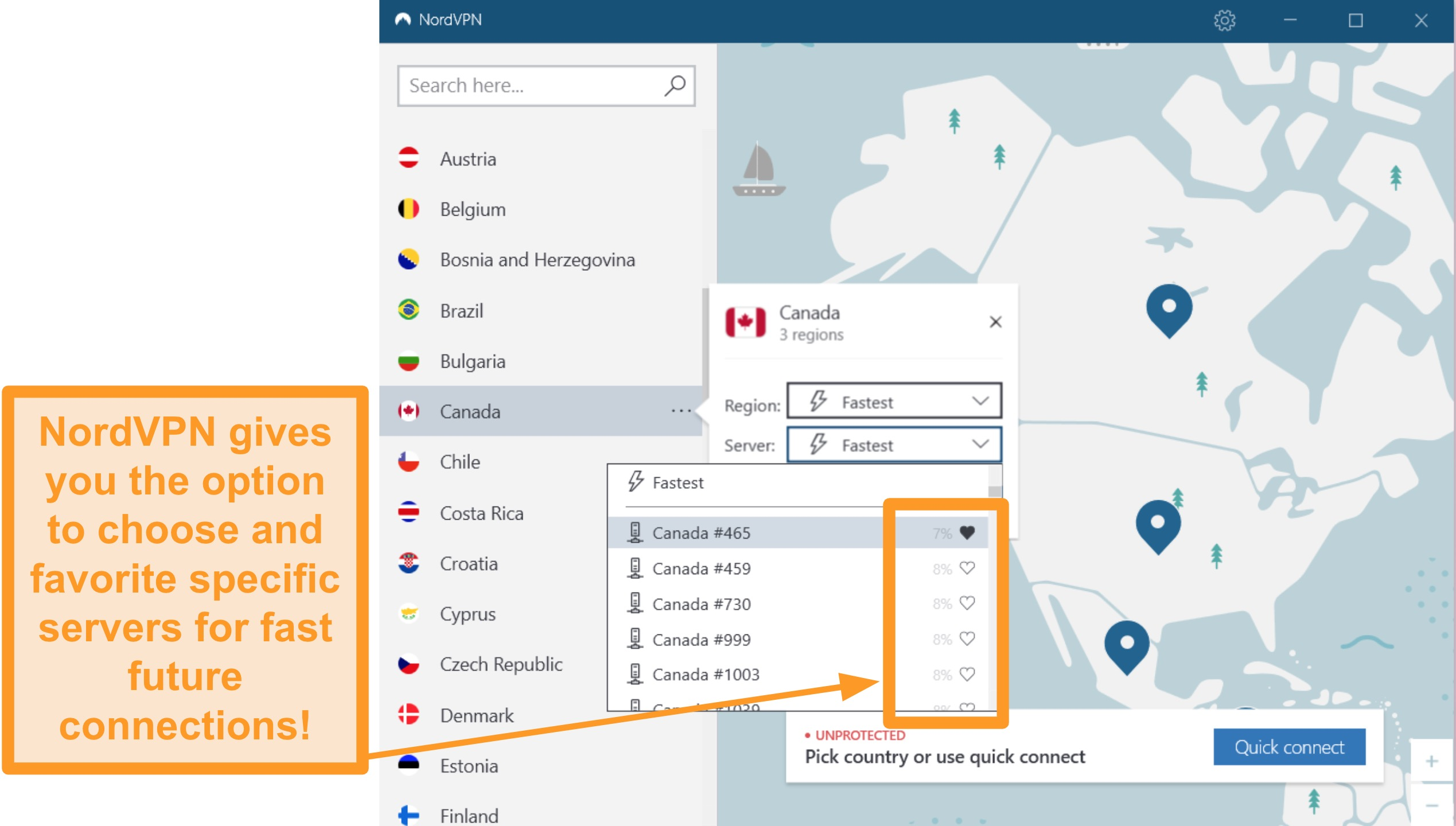 Screenshot of NordVPN interface and individual server locations.