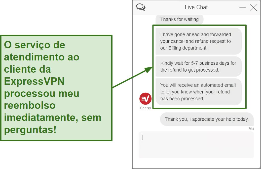 Screenshot do reembolso do chat ao vivo do ExpressVPN a ser processado