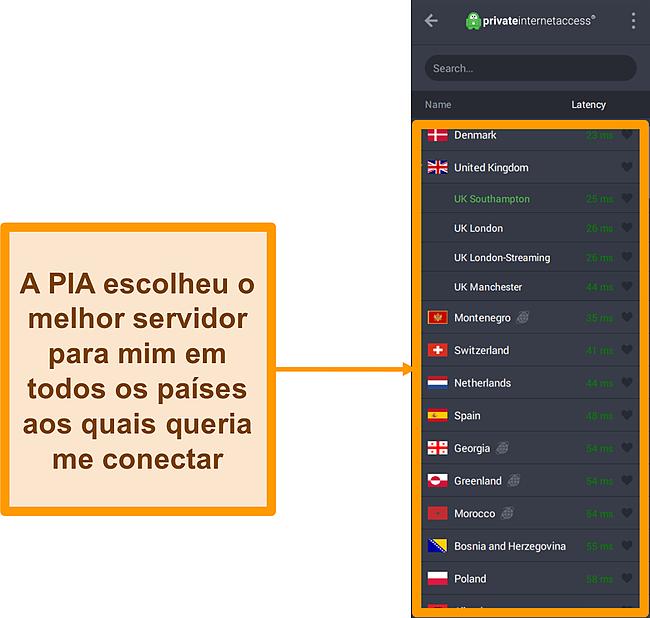 Captura de tela da lista de servidores da PIA