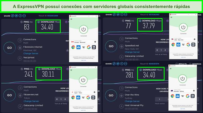 Imagens de testes de velocidade Ookla com ExpressVPN ligados a servidores globais.