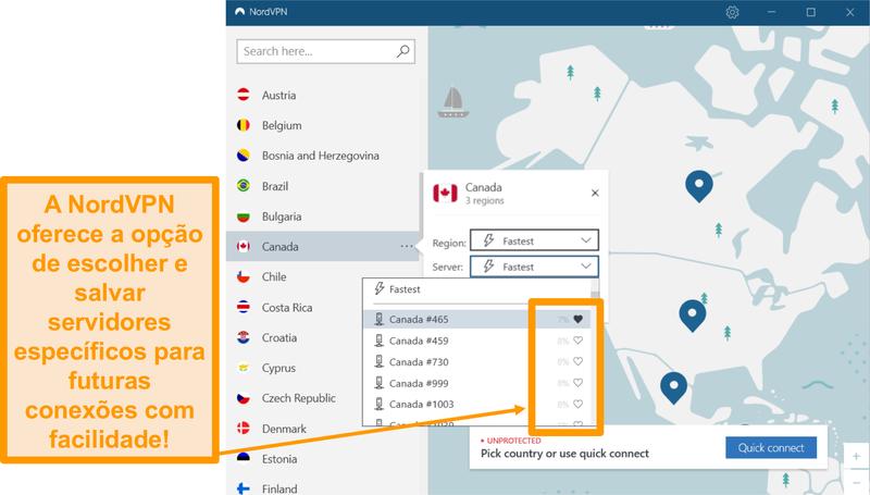 Screenshot da interface NordVPN e localizações individuais do servidor.