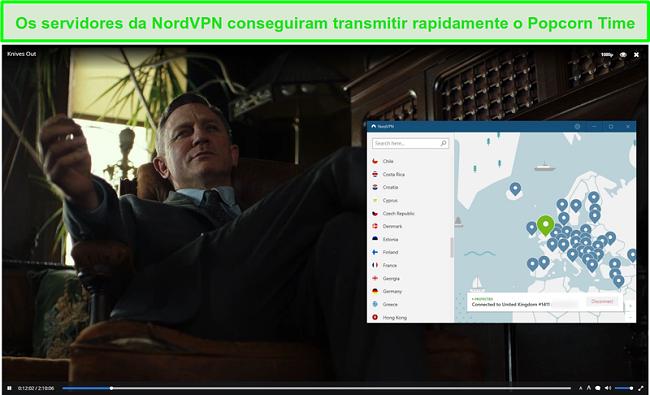 Screenshot do NordVPN protegendo o tempo de pipoca enquanto transmite facas para fora