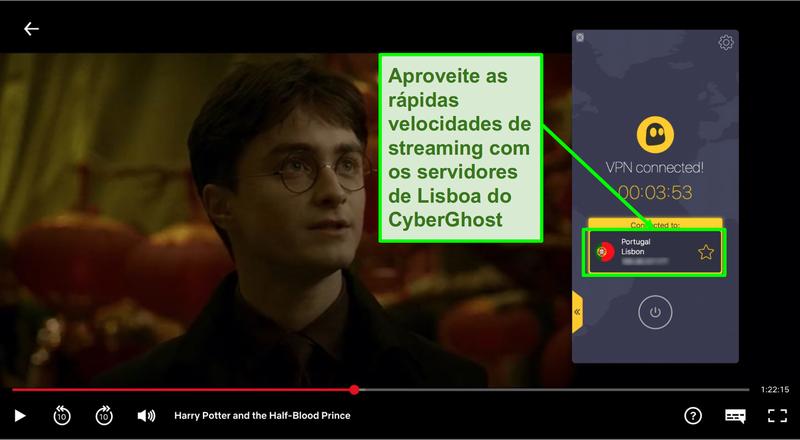 Screenshot da Cyberghost VPN ligada ao servidor de Portugal e streaming de Harry Potter na Netflix