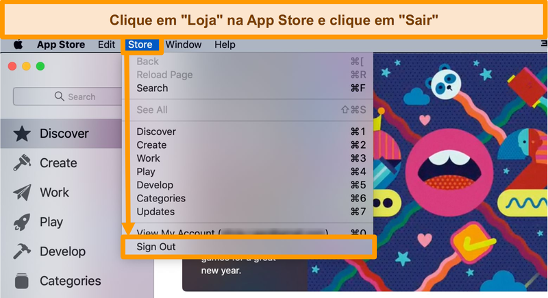 Screenshot do processo de sinalização da App Store.